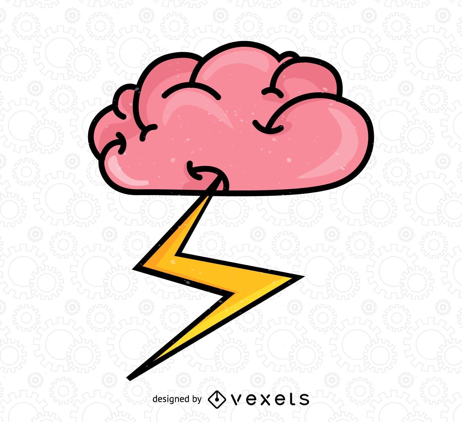 Brain with bolt illustration