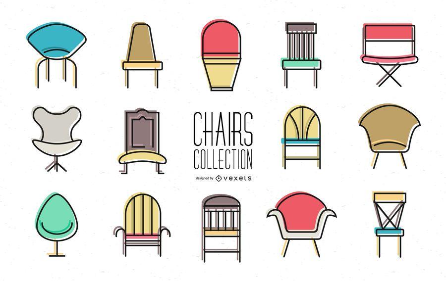 Conjunto de iconos de silla de colores