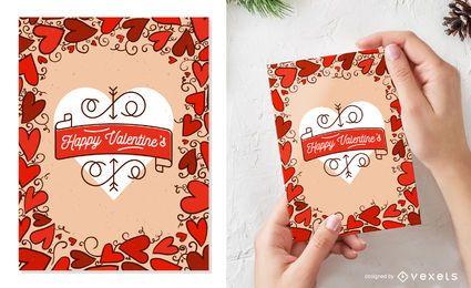 Tarjeta de San Valentín llena de corazones.