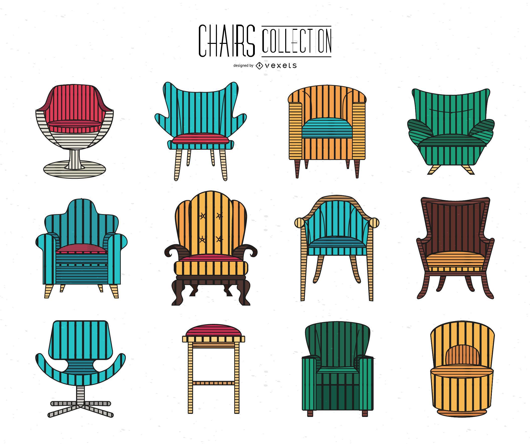 Colección linda silla de trazo
