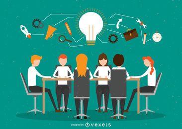 Ilustração de trabalho em equipe de escritório