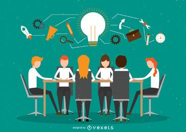Ilustración de trabajo en equipo de oficina