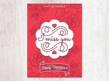 Tarjeta floral del día de San Valentín