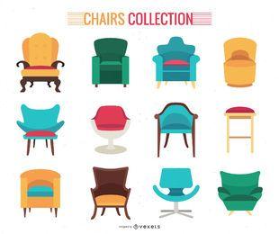 Flache Sammlung von Stühlen