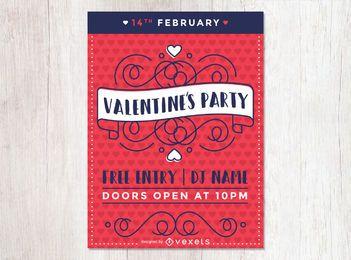 Flacher Valentinstag-Partyflieger