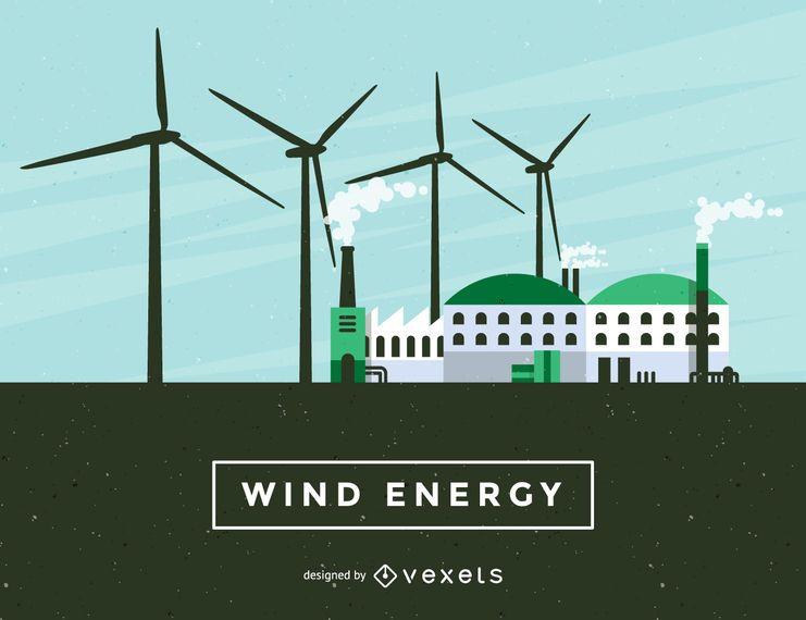 Ilustração de energia eólica