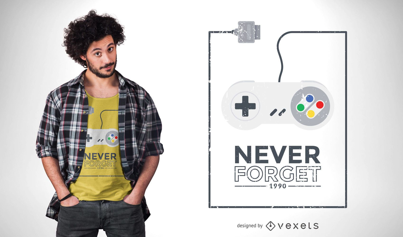 Diseño de camiseta retro joystick