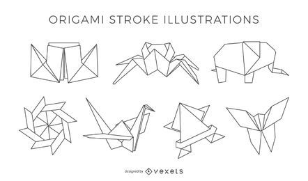 Strich-Origami-Illustrationen