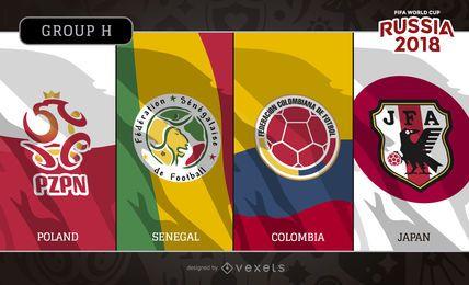 Rússia 2018 logotipo da bandeira do grupo H