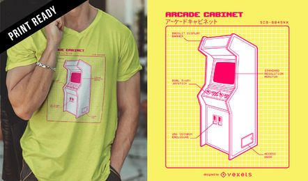 Diseño de camiseta retro arcade.