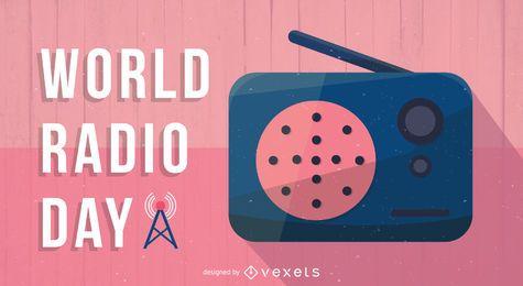 Cartel del día mundial de la radio plana