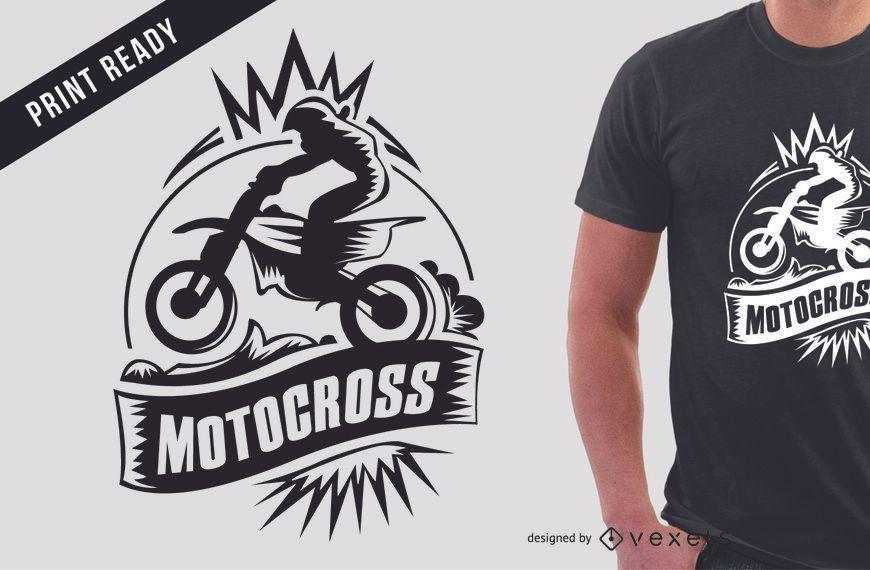 Projeto do t-shirt do esporte extremo do motocross