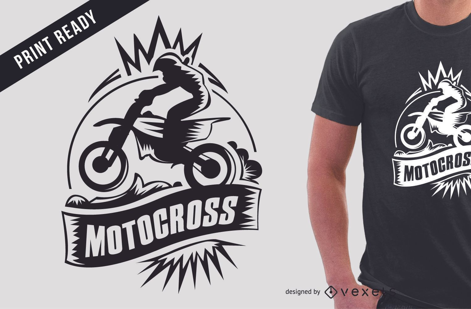Diseño de camiseta de motocross extreme sport.