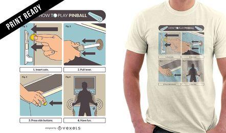 Diseño de camiseta de juego de pinball
