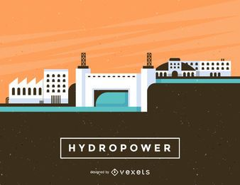 Ilustração de usina hidrelétrica