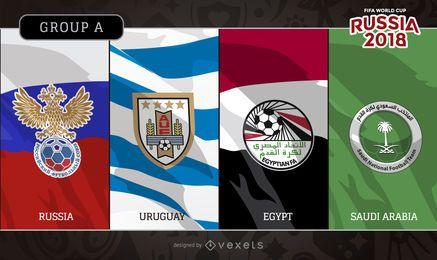 Logotipo das bandeiras do Grupo A da Rússia 2018