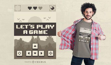 Design retro do t-shirt do jogo