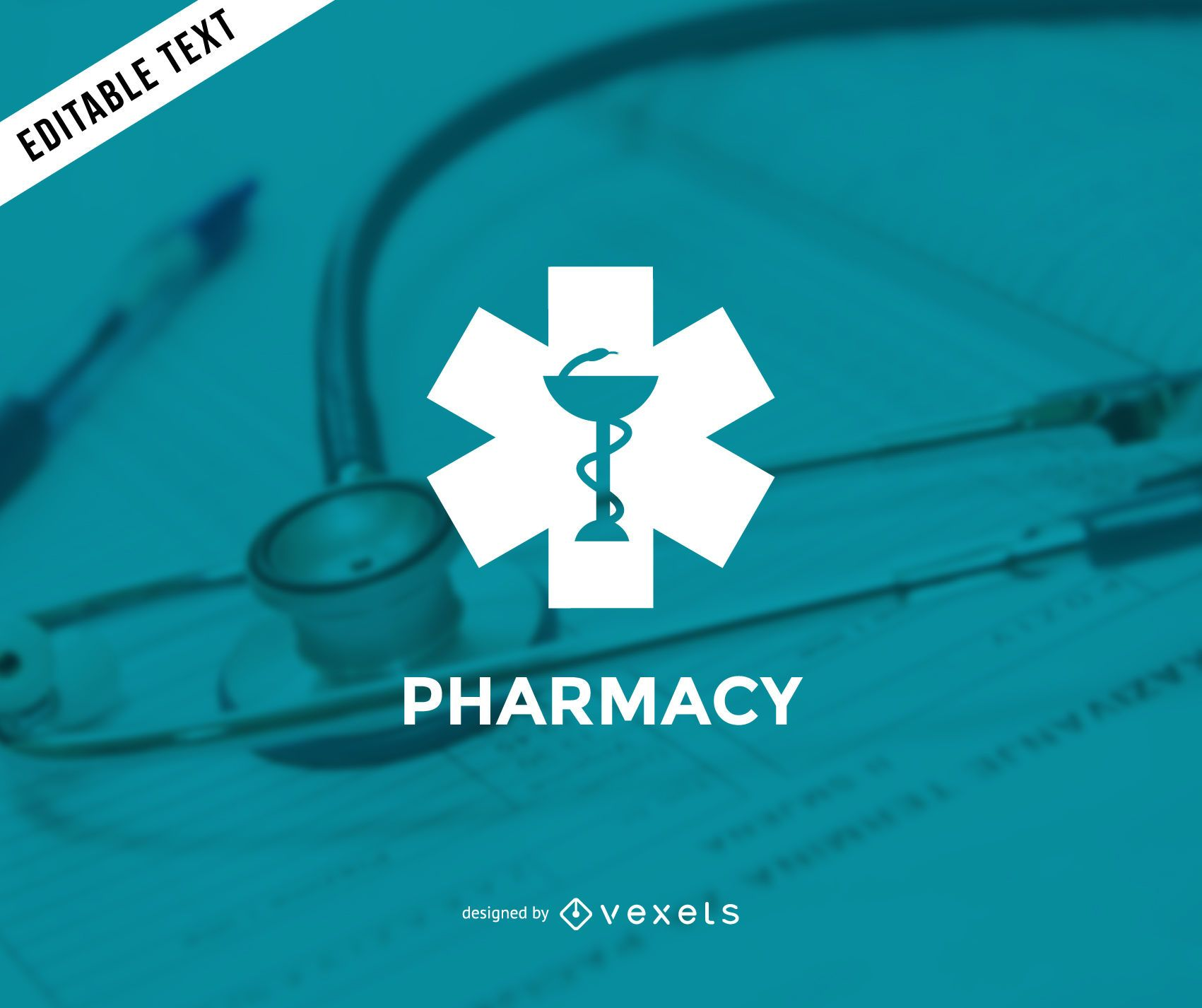 Modelo de logotipo minimalista de farmácia