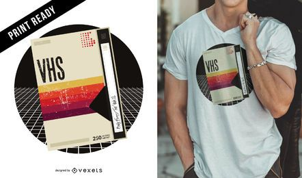 Diseño de camiseta retro VHS