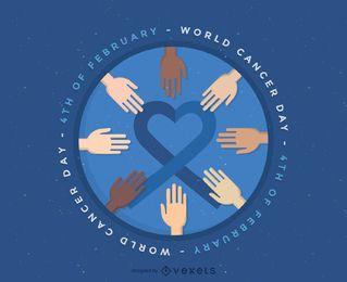 Distintivo de ilustração do dia mundial do câncer