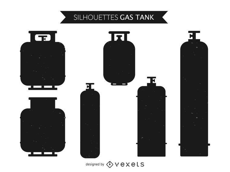Conjunto de silueta de tanque de gas