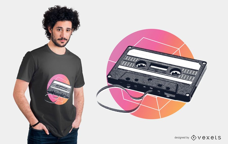 Retro cassette t-shirt design