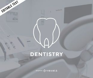 Flat dentist logo template
