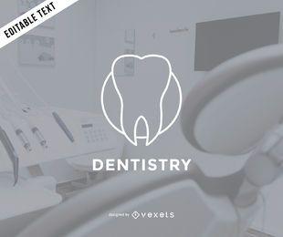 Plantilla de logotipo de dentista plana
