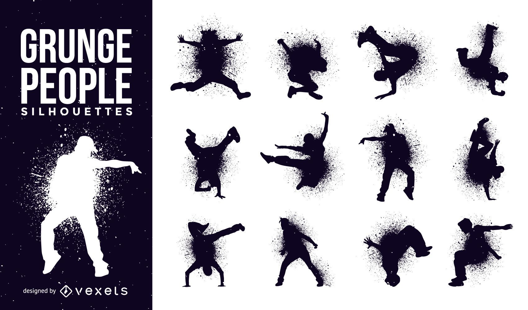 People silhouettes in grunge style