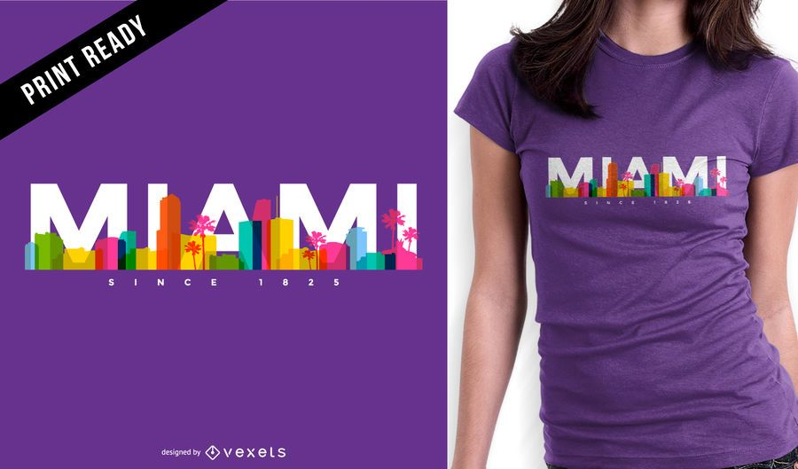 Diseño de camiseta Miami skyline