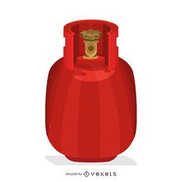 Ilustración del tanque de gas rojo