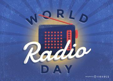 Cartel vintage del día mundial de la radio