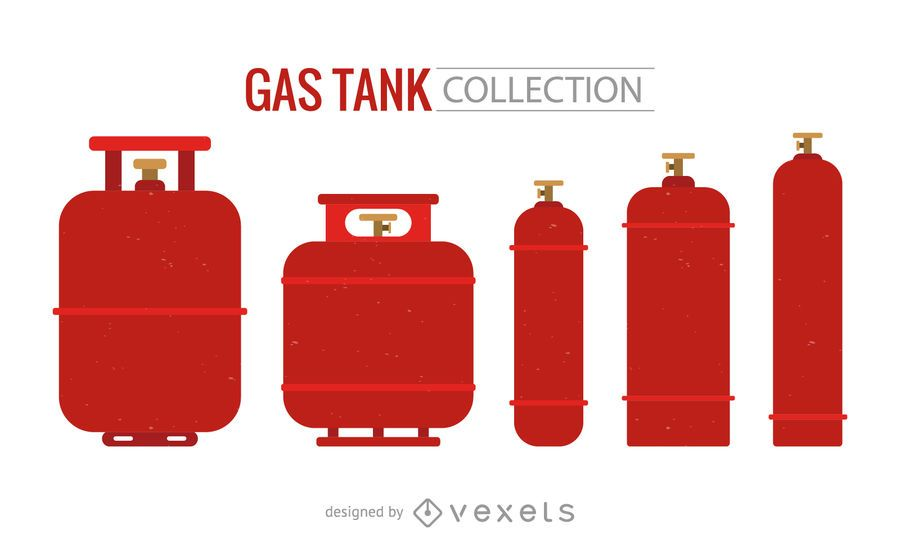 Red gas tank silhouette set