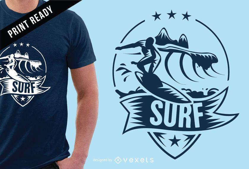 Design de t-shirt de distintivo de surf
