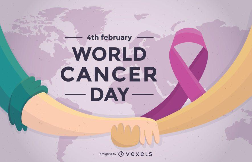 Weltkrebs-Tagesplakat mit Band