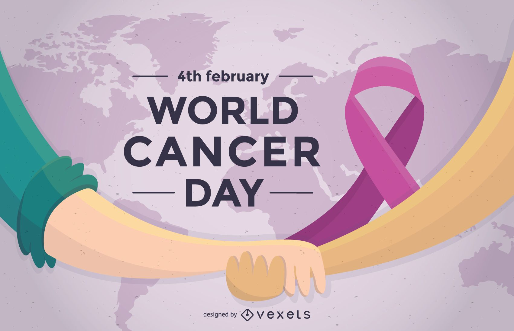World Cancer Day poster with ribbon
