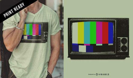 Design retro de t-shirt de TV