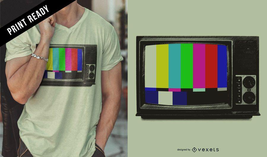 Design retro de t-shirt de TV
