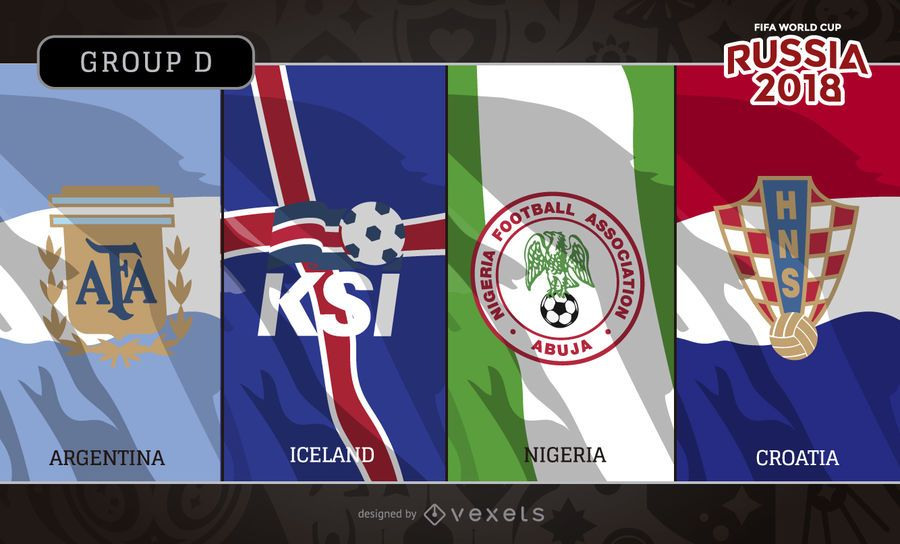 Russia 2018 Group D flags