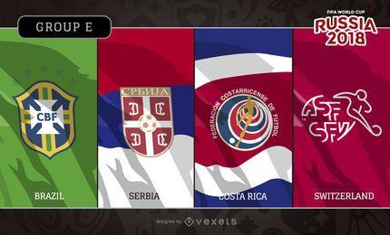 Rússia 2018 Grupo E bandeiras e logotipos