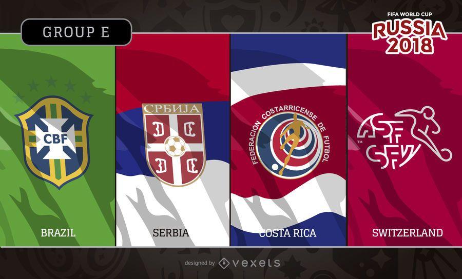 Rusia 2018 banderas y logotipos del grupo E