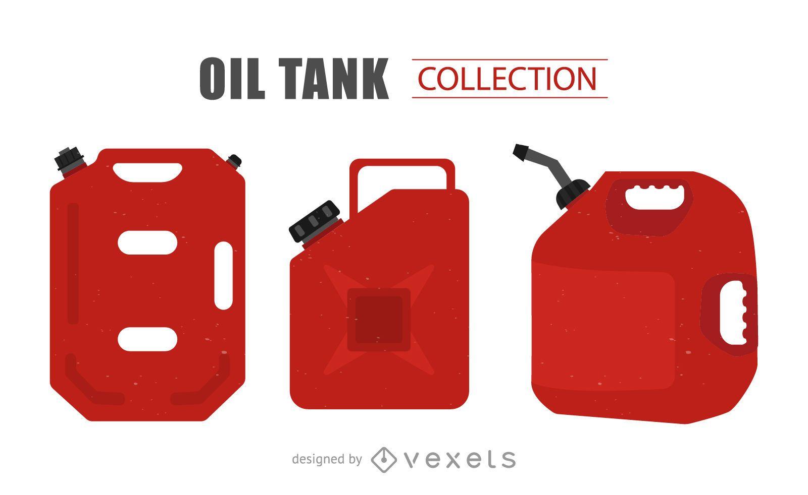 Conjunto de ilustración de tanque de aceite