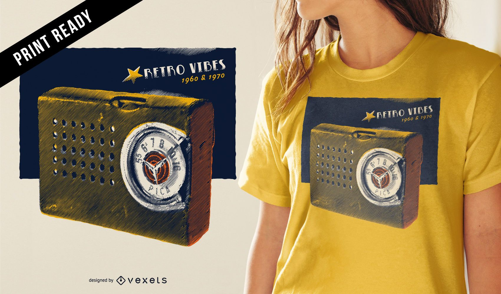 Vintage radio t-shirt design
