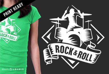 Design de t-shirt do emblema Rock & Roll