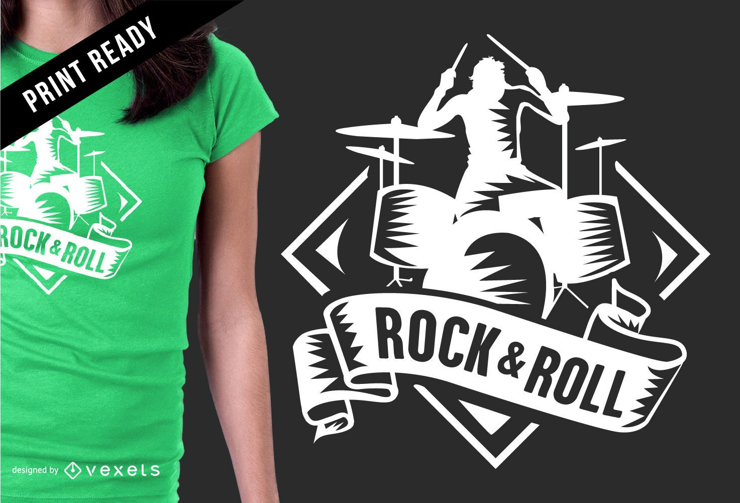 Rock Roll Badge T Shirt Design Vector Download