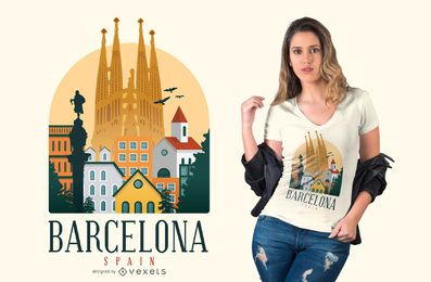 Projeto do t-shirt de Barcelona Spain