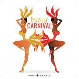 Bailarines de carnaval brasileños con plumas.
