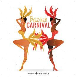 Brazilian carnival dancers illustration