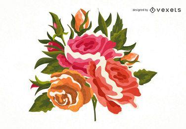 Ilustração colorida rosa pintada à mão