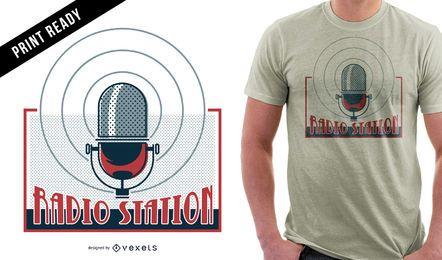 Design de t-shirt de estação de rádio